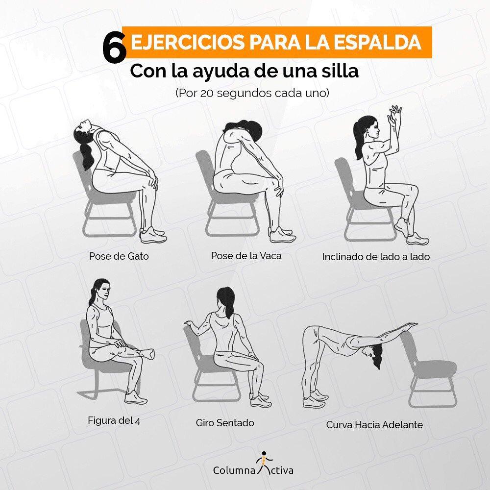 6 ejercicios para la espalda con ayuda de una silla