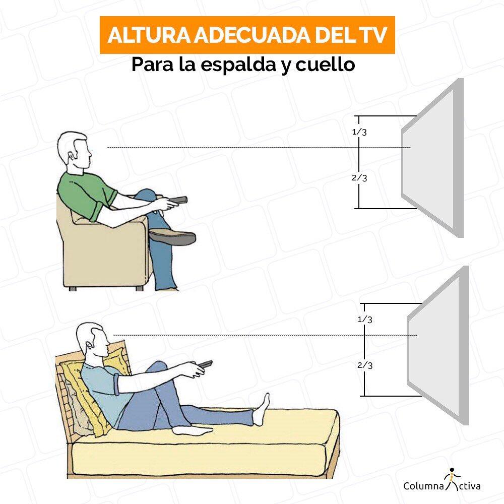 Altura adecuada del tv para la espalda y el cuello